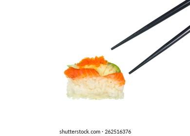 Fresh Sushi with black chopticks on white background