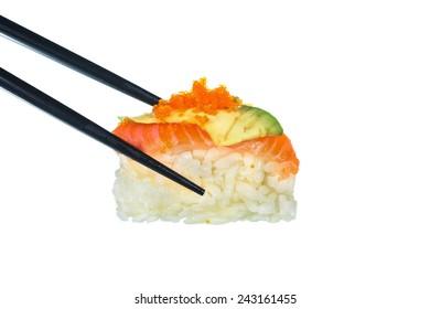 Fresh Sushi on white background