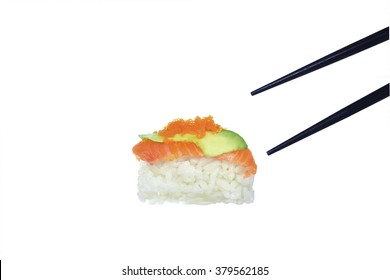 Fresh Sushi on white background with clipping path