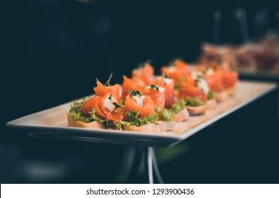 Fresh sushi roll of salmon fish