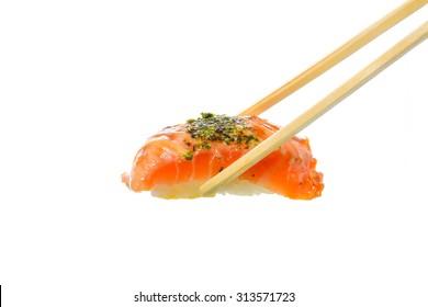 Fresh Sushi traditional japanese food on white background