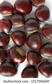 fresh sweet chestnut fruits in closeup view