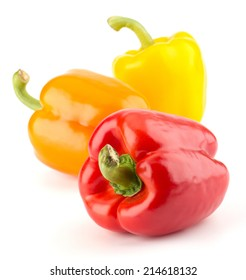 Fresh, sweet, colorful bell peppers isolated on white background