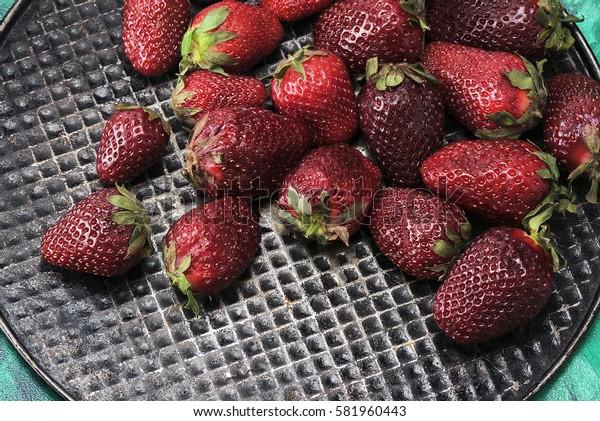 Fresh, sweet, delicious strawberries, closeup