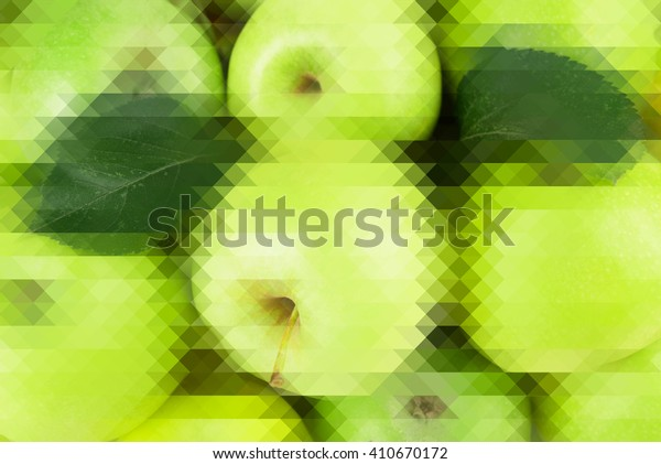 Fresh sweet green apples, abstract background