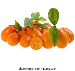Fresh Sweet Kumquat stack heap  isolated on white background