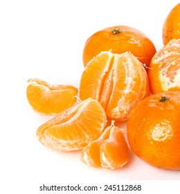 Fresh and sweet manadrins on white background