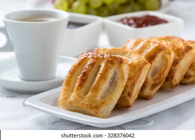 fresh sweet puff pastry breakfast on white table and palte