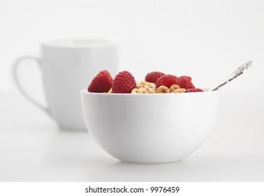 fresh sweet raspberry milk cereal breakfast morning