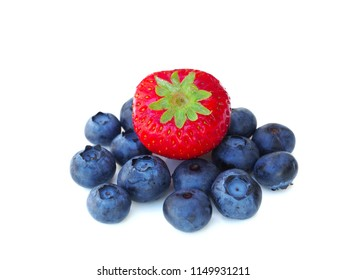 Fresh and sweet strawberry and blueberry on white background, healthy fruit and diet.