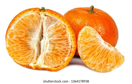Fresh and sweet tangerines or mandarin fruits isolated on white background cutout