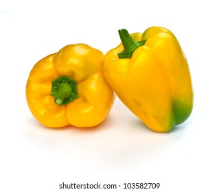 fresh sweet yellow paprika ( pepper ) isolated on white background.