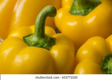 Fresh sweet yellow peppers. Vegetables macro