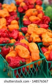 fresh, sweet yellow and red peppers at the farmers market
