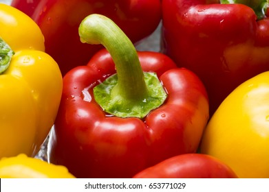 Fresh sweet yellow and red peppers. Vegetables macro