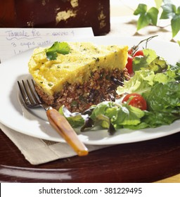 Fresh tamale pie with fork on plate