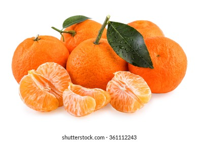 Fresh Tangerine Fruits White Isolated