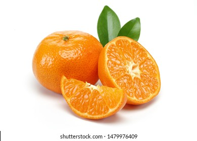 Fresh tangerine with leaf and slice isolated on white background