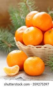 Fresh tangerines in a basket