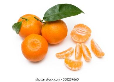 Fresh tangerines isolated on white background