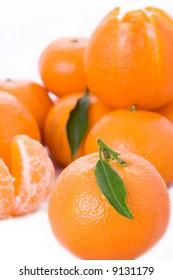 Fresh tangerines with leaf