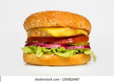 fresh tasty big burger isolated on white background