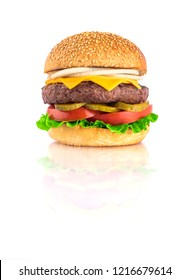 fresh tasty burger isolated on white background