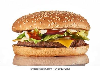 fresh tasty burger isolated on white background