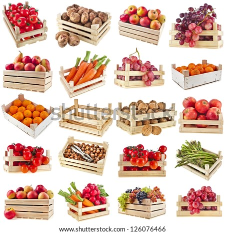 Fresh tasty fruits, vegetables, berries, nuts in a wooden crate box ,collection set  isolated on a white background