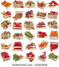 Fresh tasty healthy fruits, vegetables, berries, nuts in wooden box , collection set , isolated on a white background
