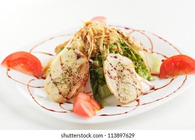 fresh and tasty salad on white background