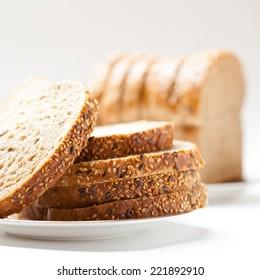 fresh tasty sliced raisin bread. stuido shot