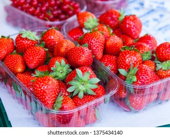 Fresh tasty strawberry in boxes on a show-window of the market