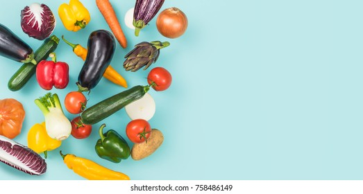 Fresh tasty vegetables falling and blank copy space, healthy food banner