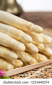 Fresh tasty white asparagus, seasonal vegetable, new harvest, ready to cook