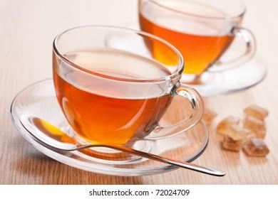 fresh tea and cane sugar