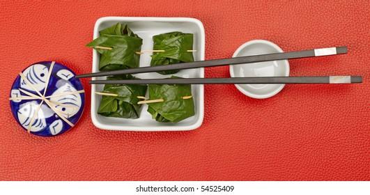 Fresh thai appetizer in a leaf