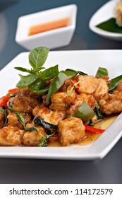 Fresh Thai food stir fry with stir fried tofu and basil garnish.