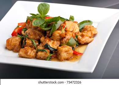 Fresh Thai food stir fry with stir fried tofu.