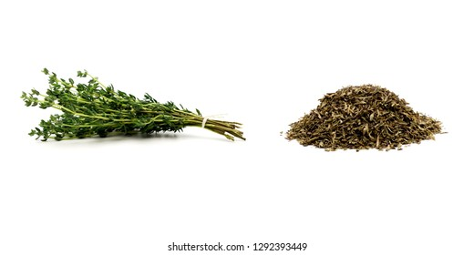 Fresh tied thyme and pile of dried thyme on white background