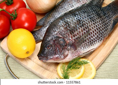 Fresh Tilapia with tomato, lemon, dill on cutting board.  St. Peter's fish.