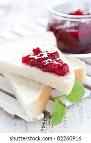 fresh toast with fruit jam