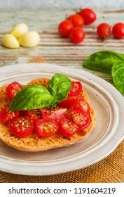 Fresh tomato bruschetta with basil and garlic.
