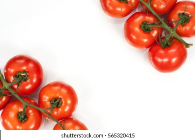 Fresh tomato healthy concept. Top of view with copy space.