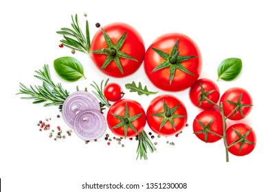 Fresh tomato, herbs and spices isolated on a white background. Food Ingredients, top view