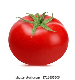 Fresh tomato isolated on white background with clipping path