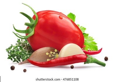 Fresh tomato for pickling with herbs, chili peppers and garlic. Clipping path, shadow separated. Design elements