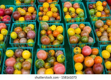 Fresh tomatoes at farmers market