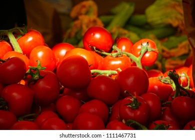 Fresh tomatoes in the market of Livorno, Italy