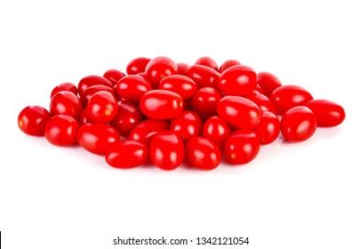 Fresh tomatoes on white background.